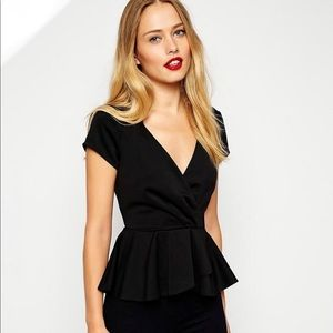 The Limited Front Wrap Cap Sleeve Peplum Top